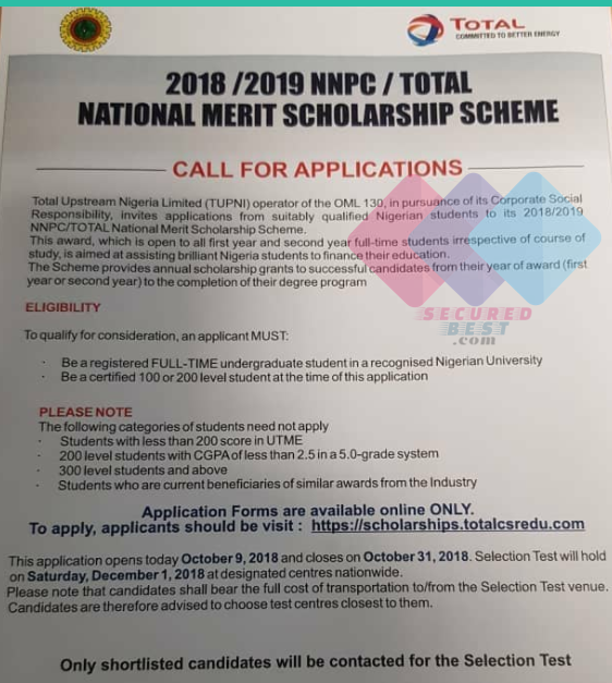 Apply 2018/2019 NNPC/Total National Merit Scholarship Application