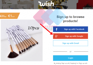 Sign Up Wish with Google+ Account