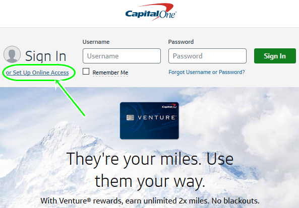 set up Capital 1 online access For capital one credit card sign in online