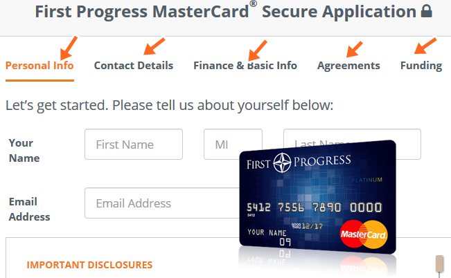 First Progress MasterCard® Secure Application at www.firstprogress.com
