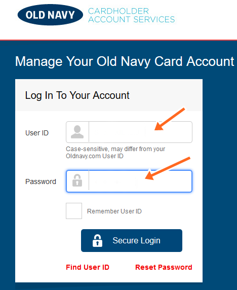 Old Navy Credit Card Login Payment,